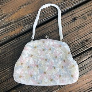 Floral Beaded Purse Evening Bag Pink Blue 50s 60s